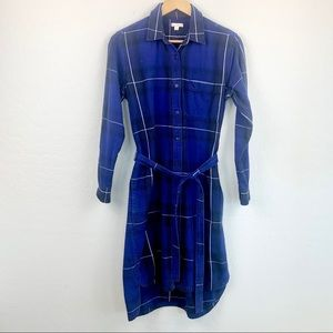 Gap flannel blue plaid shirt dress midi size small